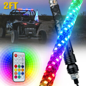 Xprite 2ft Spiral LED Lighted Whip Remote Dancing for UTV Polaris RZR Can-Am 4x4