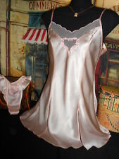 S Victoria's Secret Silk Satin Nightgown & Panty Thong Flutter Ruffle Pink Nos
