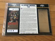 Super Bowl 6 Cowboys vs. Dolphins 22kt Gold Ticket Panel - Willabee Ward (NEW)
