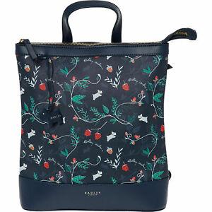 RADLEY Navy Woodland FLORAL Medium Zip-Top Backpack, rrp: £109