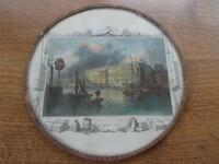 Custom House River Thames London Tombleson & Co Antique Hand coloured Engraving