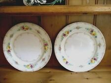 TWO VINTAGE 1930'S KONGO CHINA DINNER PLATES~HANDPAINTED~FREE SHIPPING/TRACK
