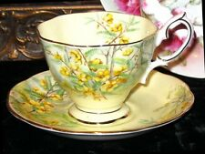 Vintage Tea Cup Yellow Royal Albert England Partridge Pea Bone China Footed