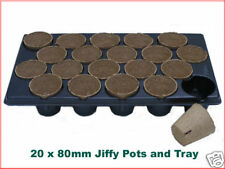 80mm dia Jiffy Plant Pot (x20) + custom plastic tray