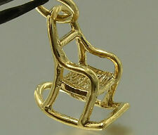 C045 Genuine 9K Solid Yellow Gold Rocking Chair Maternity Charm 3D & jumpring