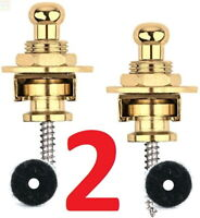 2 Gold Strap Locks Guitar Locking Buttons Fasteners Screw Electric Safety mount