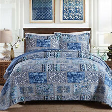 Oriental Patchwork Quilted BedSpreads Set Queen/King Size Coverlet Bed Throw Rug
