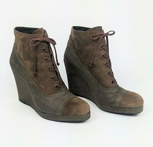 STEWART WEITZMAN Sz 9 M Suede & Leather Lace Up Platform Wedge Ankle Boots