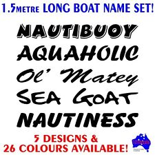 1.5m Tinny,runabout,centre console fishing boat funny name decals stickers set!