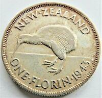 1943 NEW ZEALAND George VI FLORIN, grading VERY FINE.