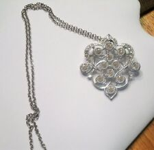 Vintage EMMONS Clear Rhinestone Silvertone Brooch Pendant Chain Necklace