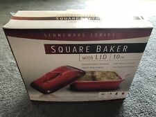 "Stoneware series Square Baker with Lid 10"" Enameled Exterior/Interior NIB NICE!"