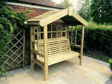 Solid 3 seater Garden Arbour tanalised outdoor bench wooden furniture (CA103/A)