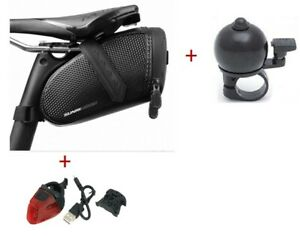 combo pack of light, bag and bell for bike, cycling accessories