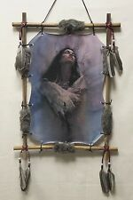 """Indianer Bild, """"Women in Love"""", im Rahmen gespannt, Kunstfell, Federn, 54x39cm"""