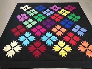 Bear paw Machine pieced patchwork quilt top #175A