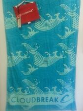 CLOUDBREAK BLUE WAVE PRINT COTTON VELOUR BEACH TOWEL NWT GREAT GIFT + CARRY WRAP
