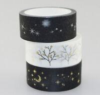 Metalic Glitter Bronzing Washi tape Tree Moon Night Star Golden Silver 15mmx5m