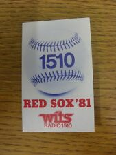 1981 Fixture Card: Baseball - Boston Red Sox (Wits Radio - fold out style). Any