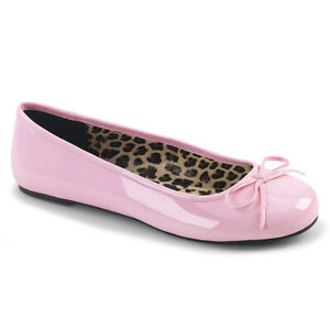 Pleaser Pink Label ANNA-01 Baby Pink Patent Ballet Flat W/ Bow Accent