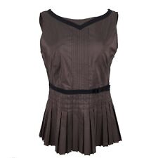 WHISTLES Brown Satin Pleated Sleeveless Blouse Fitted Top 12