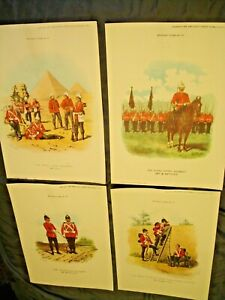 4 MILITARY TYPES CHROMOLITHOGRAPHS BY R. SIMKIN OF 1890'S BRITISH SOLDIERS-SUPER