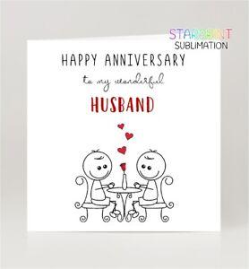 "Same Sex Husband Anniversary Card, Fun Gay Greeting Card, 6"" x 6"", Blank Inside"