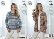 05056e6093bb7f King Cole 5052 Knitting Pattern Womens Sweater and Cardigan in Drifter  Chunky