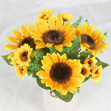 13 Heads Yellow Sunflower Silk Artificial Flowers Bouquet Wedding decoration CA