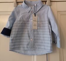 Boy's New TOM TAILOR GREY & NAVY STRIPED SHIRT - Age  6 to 9 months
