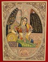 Hand Painted Mughal Miniature Art Ragini Painting Faux Ivory Nature Color Finest
