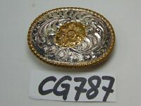 VINTAGE CRUMRINE WESTERN BELT BUCKLE BRONZE SILVER PLATE-USA MADE FLOWER