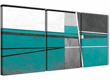 3 Piece Teal Grey Painting Office Canvas Accessories - Abstract 3389 - 126cm