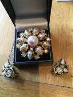 Gold tone Pin Brooch & Clip On Earnings Set With Faux Pearl & Clear Crystal