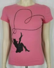 Fiorucci pink black Cowgirl with beaded lasso short sleeve t-shirt ladies Small