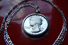 """San Francisco Minted Proof American Quarter on a 26"""" .925 Sterling Silver Chain"""