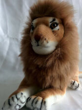 "REALISTIC Plush Stuffed MALE LION Toy 21"" Length Possibly Vintage Ganz"