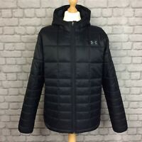 UNDER ARMOUR MENS UK XL BLACK INSULATED WINTER HOODED JACKET COAT RRP £115 CS