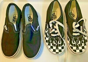 2 pair Vans slip on shoes Solid Black & Checked with Flames unisex size 1.5