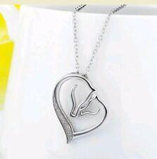 crystal silver horse necklace clear Crystal heart races Christmas Birthday 785