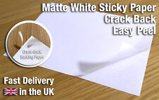 A4 White Crack Back MATTE Self Adhesive Sticky Sticker Printable Paper Sheet