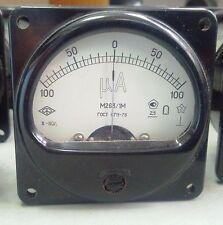Vintage Analog Ampere Meter +/-100uA DC Panel Mount