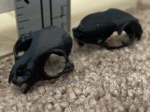 2 Unpainted Cat Skull Shoulder Pauldrons For Mythic Legions 2.0 Figures