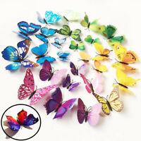 12pcs PVC 3D Butterfly Wall Decor Cute Butterflies Wall Stickers Art Decal Home