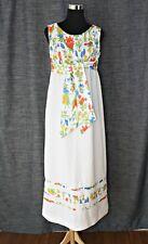 Vintage Marian Sue Dress White Floral Hippie Boho High Waist Sleeveless Sz 7 / 8