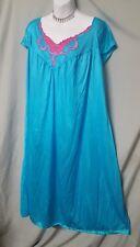 """Ventura Calf Blue w/Applique Sleeveless Nightgown Sz 5X  74"""" Bust"""