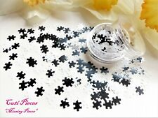 3D Nail Art *Missing Pieces* Black White Mix Jigsaw Puzzle Spangle Glitter Pot