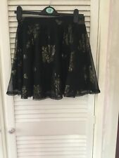 Ladies Brand New Black With Gold Flowers Primark Short Skirt UK Size 12