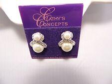 Vintage Cathy's Concepts Rhinestone & Pearl Pierced Wedding/Prom Earrings