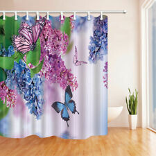 Spring Orchid Flower Butterfly Bathroom Fabric Shower Curtain & 12 Hooks 71*71""